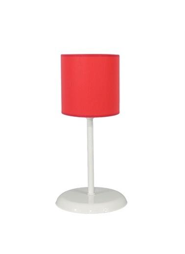 Şenay Aydınlatma Masa Lambası Silindir Kumaş Abajur-Kırmızı Kırmızı